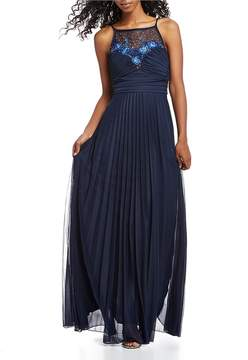 B. Darlin Embroidered Illusion Yoke Long Dress