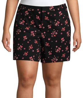 Boutique + + 7 Jamie Floral Twill Shorts - Plus