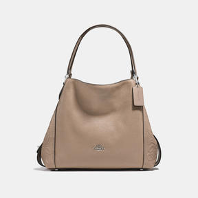 COACH Coach Edie Shoulder Bag 31 With Tea Rose Tooling - LIGHT ANTIQUE NICKEL/STONE - STYLE