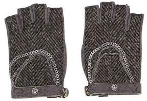 Chanel Herringbone Fingerless Gloves