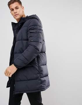 Esprit Long Padded Coat In Navy