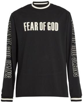 Fear Of God Long-sleeved logo-print mesh-jersey T-shirt