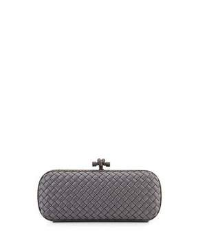 Bottega Veneta Satin Elongated Knot Clutch Bag, New Light Gray