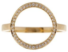 Bony Levy 18K Yellow Gold Pave Diamond Open Circle Ring - 0.12 ctw