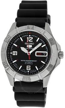 Seiko 5 Black Dial Stainless Steel Black Rubber Automatic Men's Watch