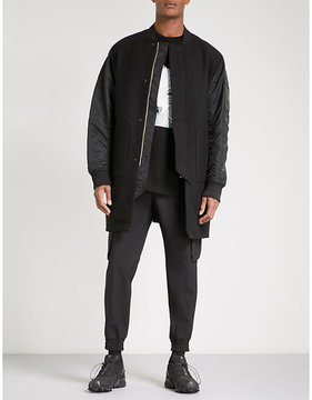 Juun.J JUUN J Longline wool and cashmere-blend and shell bomber coat