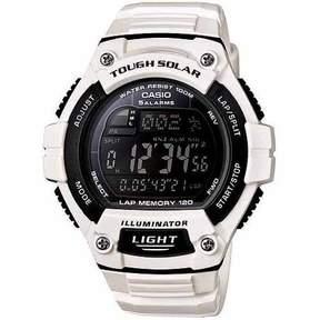 Casio Unisex Solar Multi-Function 120-Lap Runner Watch, White Glossy Resin Strap