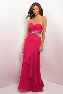 Blush Lingerie Strapless Pleated Long Dress 9612