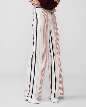 Express High Waisted Stripe Tie Waist Wide Leg Dress Pant