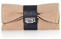 Joanna Maxham Nite Cap Clutch Raffia Fabric With Black Leather Trim.