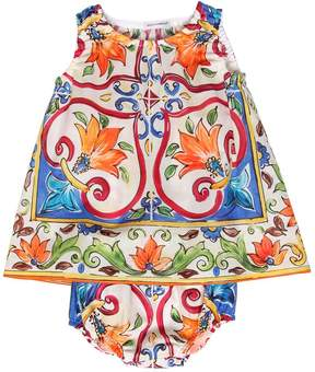 Dolce & Gabbana Maiolica Muslin Dress & Diaper Cover