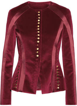 Altuzarra Cavendish Silk Satin-trimmed Velvet Jacket - Burgundy