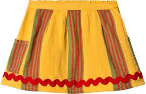 Bobo Choses Banana Yellow Striped Linen Pocket Skirt