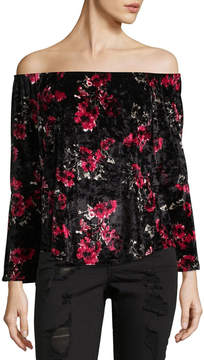 Almost Famous Long Sleeve Round Neck Velvet Floral Blouse-Juniors