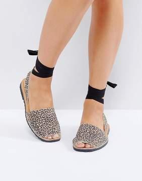 Park Lane Flat Tie Leopard Ankle Suede Sandal