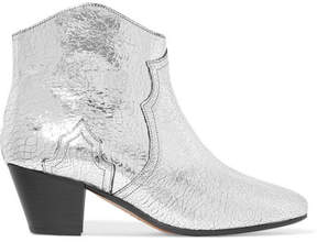 Isabel Marant Dicker Metallic Cracked-leather Ankle Boots - Silver