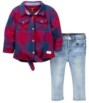 7 For All Mankind Tie Front Shirt & Skinny Jeans (Baby Girls)