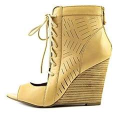 Report Signature Linus Women Open Toe Leather Wedge Heel.