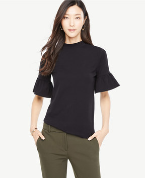 Ann Taylor Mock Neck Flare Sleeve Top