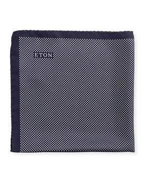 Eton Polka-Dot Silk Pocket Square, Navy