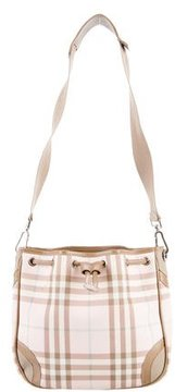 Burberry Leather-Trimmed Nova Check Bag - PINK - STYLE