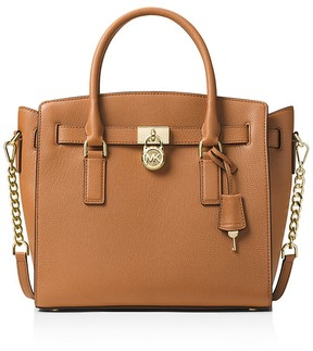 MICHAEL Michael Kors Hamilton East/West Large Leather Satchel - ACORN BROWN/GOLD - STYLE