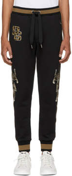 Dolce & Gabbana Black and Brown Embroidered Lounge Pants