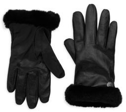UGG Leather Shearling-Trimmed Gloves