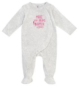 Petit Lem Baby Girl's Dreams Happen Footie