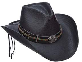 Scala Women's Lt203 Toyo Pinch Cowboy Hat With Turquoise Stone.