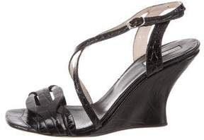 Dries Van Noten Embossed Ankle-Strap Wedges
