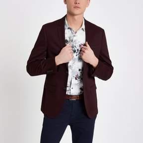 River Island Mens Dark red skinny fit cotton blazer
