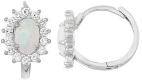 Junior Jewels Kids' Sterling Silver Lab-Created Opal Flower Hoop Earrings