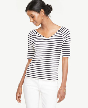 Ann Taylor Striped Double V Sweater