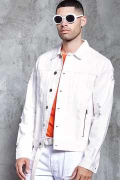 21men 21 MEN Distressed Denim Jacket