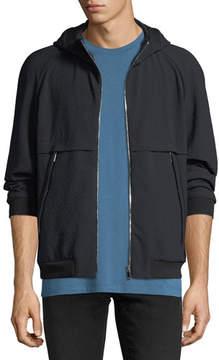 Giorgio Armani Seersucker Zip-Front Hoodie