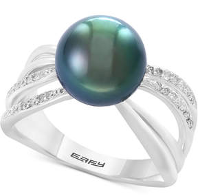 Effy Pearl Lace by Cultured Black Tahitian Pearl (10mm) and Diamond (1/6 ct. t.w.) Ring in Sterling Silver