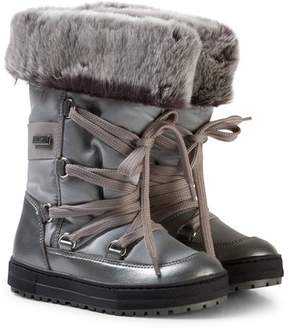 Naturino Silver Faux Fur Tall Snow Boots