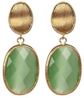 Rivka Friedman Faceted Lime Green Cat's Eye Crystal Oval Drop Satin Earrings
