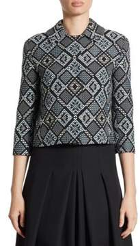 Akris Punto Diamond Jacquard Pleated Jacket
