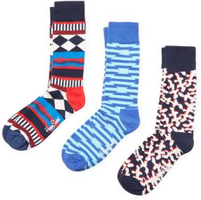 Happy Socks Men's Diamond, Stripes and Abstract Socks (3 PK)