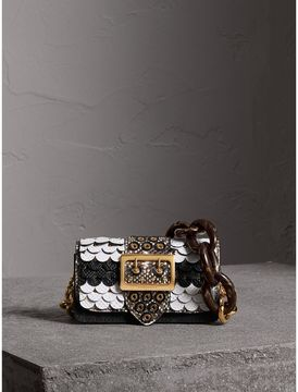 Burberry The Small Buckle Bag in Scalloped Snakeskin - BLACK/WHITE - STYLE