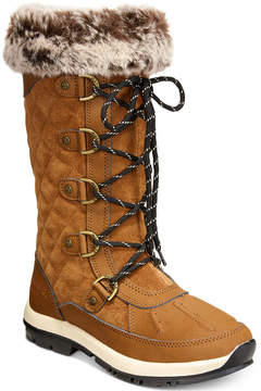 BearPaw Women's Gwyneth Quilted Lace-Up Cold-Weather Waterproof Boots Women's Shoes