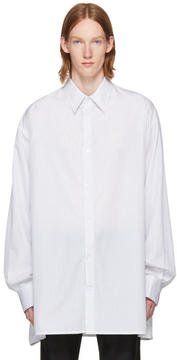 Raf Simons White and Black Striped Big Shirt