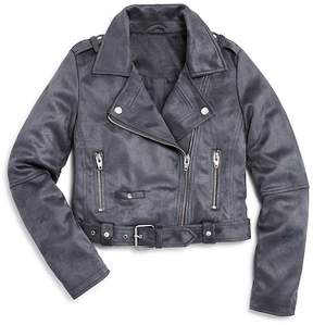 Aqua Girls' Faux-Suede Moto Jacket, Big Kid - 100% Exclusive