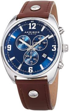 Akribos XXIV Mens Brown Strap Watch-A-969brbu