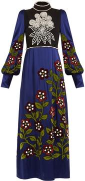 Andrew Gn High-neck embellished satin dress
