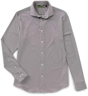 Murano Performance Slim Spread Collar Horizontal Stripe Knit Shirt