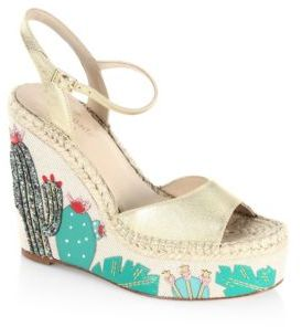 Kate Spade Dallas Cactus Metallic Leather Wedge Sandals