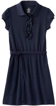Chaps Girls 4-14 School Uniform Ruffled Polo Shirt Dress
